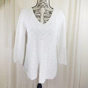Habitat White Cotton Linen Pullover Sweater